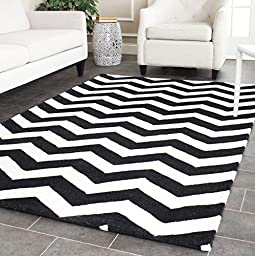 Safavieh Chatham Collection CHT715A Handmade Ivory and Black Wool Area Rug, 3 feet by 5 feet (3\' x 5\')