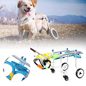 Small Dog Wheelchair Bako and Tobago Pet Dogs Limb Rehabilitation Wheelchairs for Hind and Front Handicapped Wheelchair with Comfortable Leash and 4 Wheels (Tamaño: 4 Wheel-XS Widen)