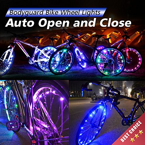 Bodyguard Bike Wheel Lights - Auto Open and Close - Ultra Bright LED - Bike Wheel Spoke / Light String (1 pack) - Colorful Bicycle Tire Accessories- Waterproof (Blue) (Light Bike Led compare prices)