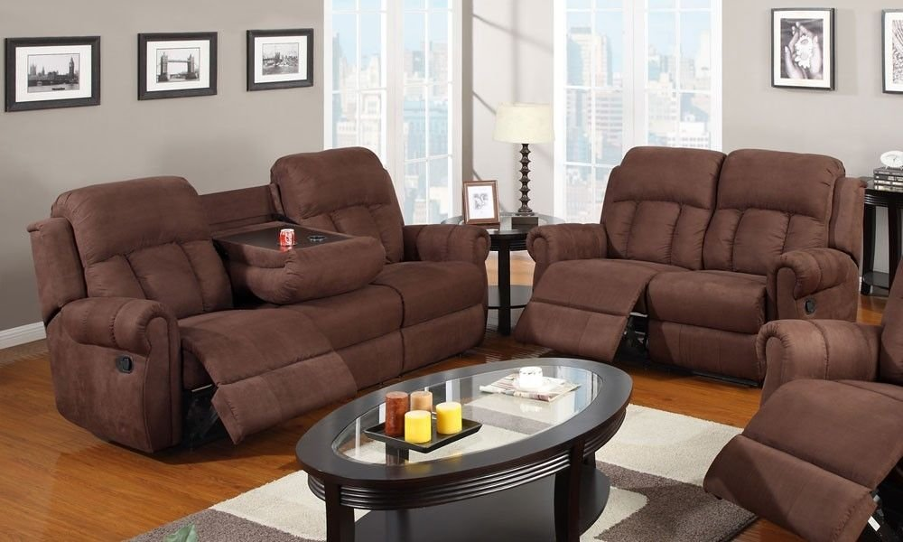 1PerfectChoice 2 pc Modern Recliner Sofa w/Cup Holder Couch Recline Loveseat Brown Microfiber
