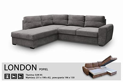 CORNER SOFA BED-LONDON GREY - FABRIC-EXTRA SOFT- ELASTIC-HIGH QUALITY, SILICONE FOAM (251 CM, 198 Centimeters)