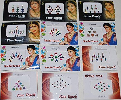 wevez-12-pack-indian-art-bollywood-reuseable-bindi-self-adhesive-body-stickers-tattoo