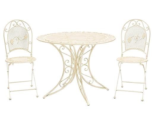 Mesa de jardín juego de muebles y 2 sillas de hierro 100cm cremeweiß estilo
