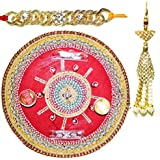 Handcrafted Ganesha Design Steel Pooja Thali Gift With Single Fancy Rakhi & Designer Lumba For Bhabhi For Rakhi Rakshabandhan - B073RKPFK6