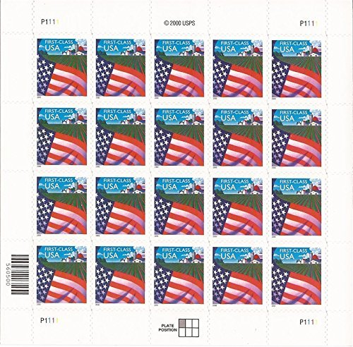 2000-flag-over-farm-full-pane-of-20-stamps-scott-3449-by-united-states-of-america
