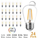 Newpow S14 Led Light Bulbs, 24 Pack Dimmable Edison Glass Bulbs for Waterproof Outdoor String Lights, 1.5W Replacement Incandescent Bulb (11w - 30w), Warm Color 2200k - UL Listed (Color: Clear, Tamaño: S14 led light bulbs)