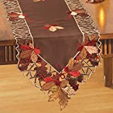 Collections Etc Embroidered Autumn Leaves Table Linens