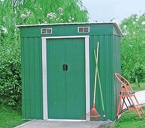 Casetta porta attrezzi da giardino in lamiera 185 x 121 cm - Porta attrezzi da giardino ...
