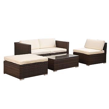 6034) POLY RATTAN Lounge Braun Gartenset Sofa Garnitur Polyrattan ...