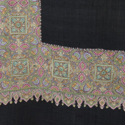 Pure Pashmina Shawl with Bold Embroidered Border