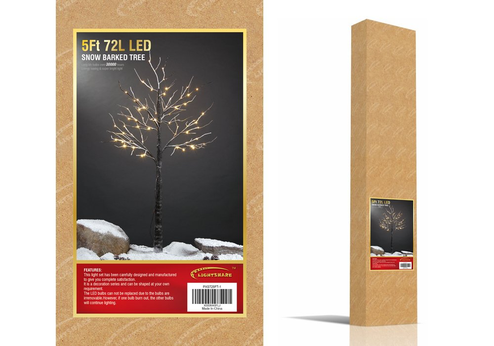 Lightshare 5 Lighted Snow Tree, Medium