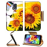 Samsung Galaxy S5 hand paint picture with sunflowers IMAGE 27372920 by MSD Customized Premium Deluxe Pu Leather generation Accessories HD Wifi 16gb 32gb Luxury Protector Case