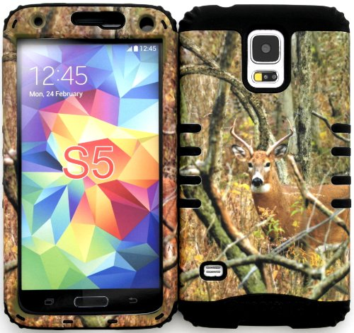 Wireless Fones TM Samsung Galaxy S5 Case Dual Layer Hybrid Impact Resistant Protective Case Real Deer Camo Mossy Hunter Series Snap on Over Black Skin