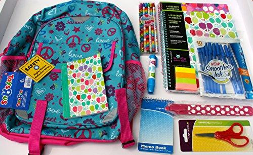 Bundle Back to School 11 Piece Girls Backpack Book Bag Peace Love Designer Pencils, Subject Notebooks, Slap-Penz, Page Markers, Papermate Pens, Clickable Eraser, Memo Book, Scissors & More