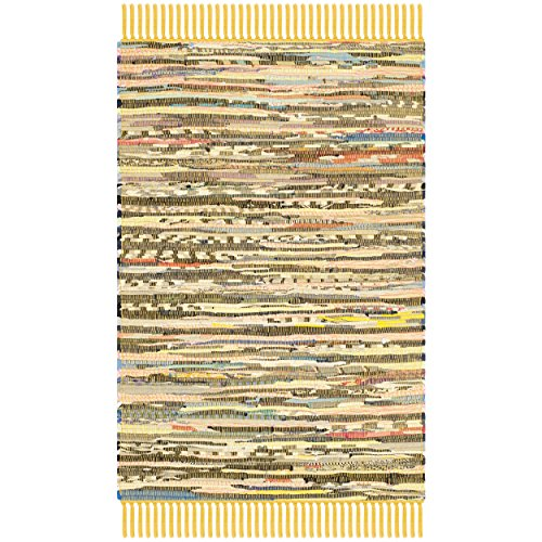 Safavieh Rag Rug Collection RAR121H Hand Woven Yellow and Multi Cotton Area Rug, 2 feet by 3 feet (2' x 3')