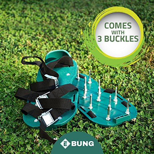 EBUNG Lawn or Garden Aerator Shoes for Men & Women – Sturdy, Effective & Easy to Use – Universal Size – Adjustable Straps for Perfect Fit – Metallic Buckles for High Corrosion Resistance