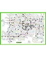 「都市部路線図1」 東京(関東、首都圏) 【ルビ付き路線図】 B2サイズポスター ビジネス、語学に 「路線図屋」