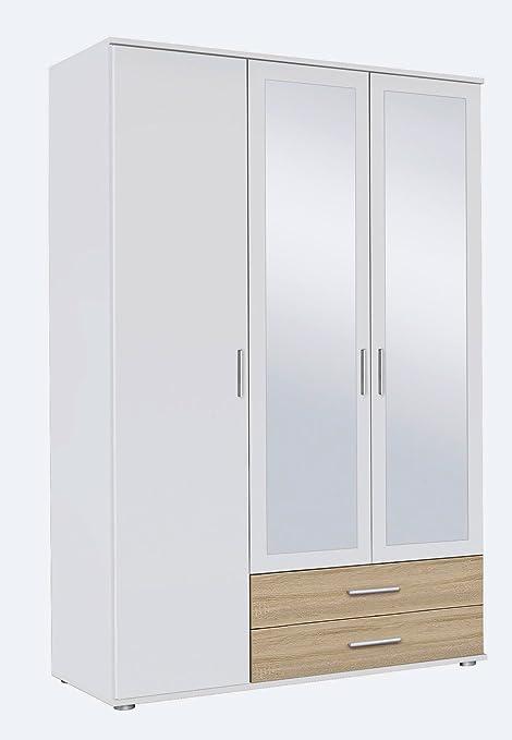 Kleiderschrank, Schlafzimmerschrank, Wäscheschrank, Drehturenschrank, Kleiderschranksystem, Schranksystem, Spiegelschrank, Sonoma, Eiche, weiß
