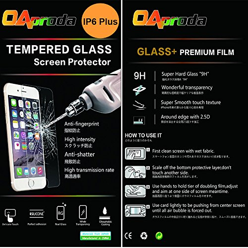 OAproda 日本製素材 旭硝子製(AGC)のガラスを採用する iPhone 6s plus iPhone 6 plus 用強化ガラス保護フィルム ( 5.5インチ ) (0.3mm,硬度9H ) 3D Touch対応 2.5D ラウンドエッジ加工 気泡レス 耐指紋 撥油性 99%高透過率 耐衝撃 飛散防止処理 C-Glass