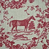 100 Linen Fabric Equestrian Horse Print The Noble Horse in traditional Toile de Jouy style Rich Bordeaux Red on a Cream White pure linen cloth French Designer Fabric 140cm Wide sold by the metre