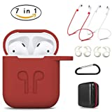 AirPods Case 7 In 1 Airpods Accessories Kits Protective Silicone Cover and Skin for Apple Airpods Charging Case with Airpods Ear Hook Grips/Airpods Staps/Airpods Clips/Skin/Tips/Grips(Red)by Amasing … (Color: Red)