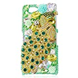 Mavis's Diary Luxury 3D Handmade Green Full Bling Crystal Rhinestone Metal Golden Peacock Design Clear Cover Case for Sony Xperia Z1 Compact (Z1 Mini) with Soft Clean Cloth