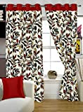 Story@Home 5 feet Set of 2 happiness 2 Piece Contemporary Pattern Ice Crush Curtains Red