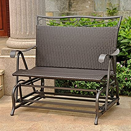 Valencia Steel-Frame Wicker Glider Rocking Chair, Chocolate