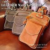 ウエストポーチ ウエストバッグ 本革 レザー メンズ ヒップバッグ ベルトポーチ bag-pou006 (ブラウン)