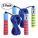 KINGSOO 2 Pack Adjustable Jump Rope with Counter for Kids & Adult- Lightweight Speed Jump Rope Exercise Fitness (2 Unit-Red&Blue) (Color: 2 Unit-Red&Blue)