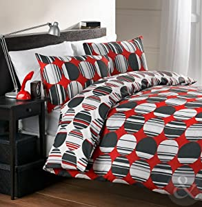 CLEARANCE DUVET COVERS - Printed Cotton Blend Modern Bedding Bed Sets Spot Stripe - Red ( black white beige ) King Size Quilt Cover ( kingsize )