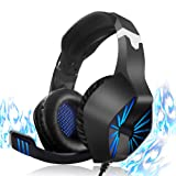 RegeMoudal Gaming Headset for Xbox One, PS4, PC, Noise Cancelling Over Ear Headphones Mic, Blue LED Light, Subwoofer Surround, Soft Memory Earmuffs for PC Laptop Tablet and Smart Phone (Color: blue)