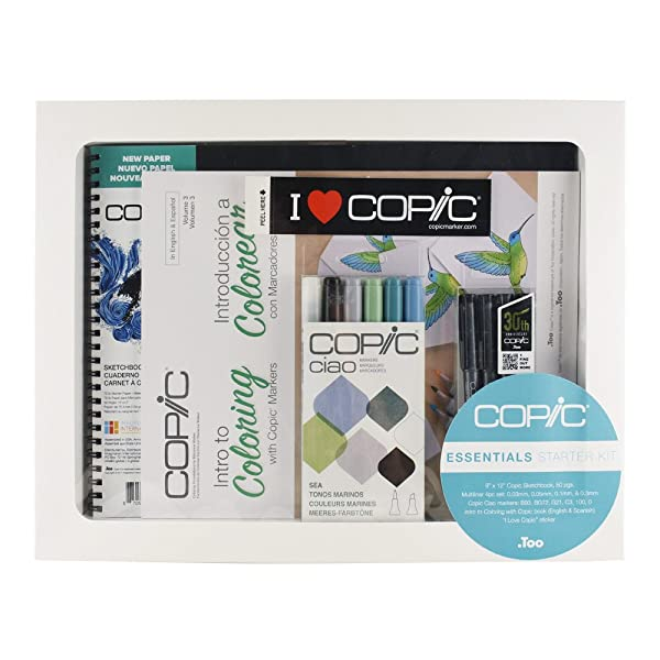 Copic Limited Edition Ciao Intro to Coloring Sketchbook Kit with Multiliner Pens, Sea Colors (IKIT2) (Color: SEA)