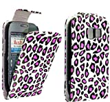 FOR NOKIA ASHA 302 BLACK AND PINK LEOPARD PRINT LEATHER FLIP CASE COVER POUCH