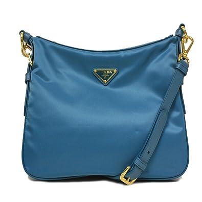 Amazon.com: Prada BT0706 Turquoise Blue Tessuto Saffian Nylon and ...