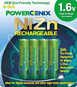 PowerGenix PGX-4AAZiNc-1.6v High Voltage Rechargeable AA Batteries - 4 Pack