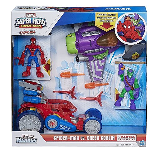 Playskool Heroes Marvel Super Hero Adventures Spider Man Vs. Green Goblin Set By Hasbro