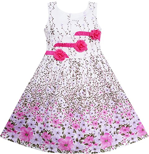 Sunny Fashion Girls' Dress 3 Pink Flower Leaves School Party