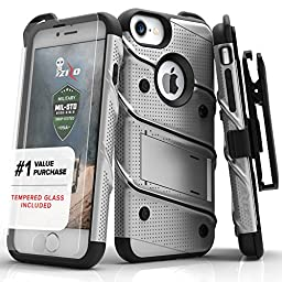 Zizo Bolt Series Military Grade Drop Tested Armor Kickstand Holster Belt Clip Case with Tempered Glass Screen Protector for iPhone 7, iPhone 6s, and iPhone 6, Gray/Black