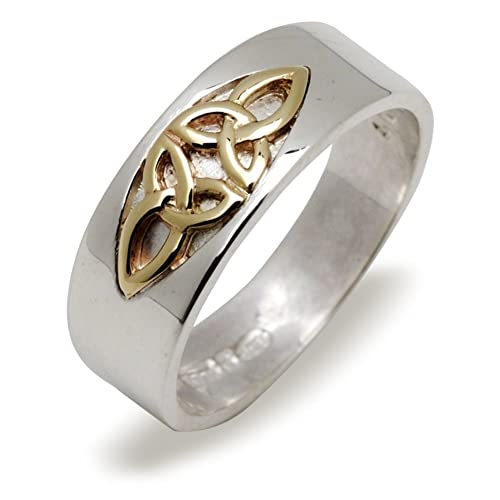 Celtic 7mm Wide Silver and Gold Double Trinity Knot Band Ring . Gift Boxed. Celtic Jewellery.