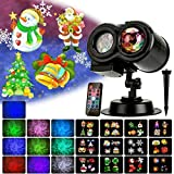Holiday Light Projector, Christmas Decoration Projector Lights Ocean Wave LED Night Light with 12 Slides 10 Colors Patterns, Waterproof Outdoor Indoor Landscape for Theme Party Yard Garden Decor (Color: 2 in 1 Water Wave Light, Tamaño: Water Wave)