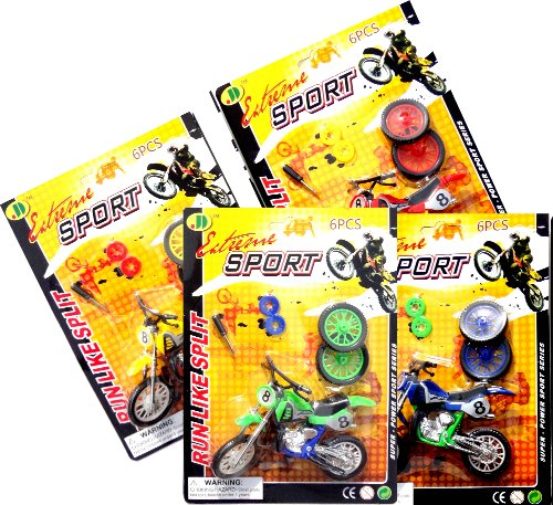 Best 4 Pack Toy Dirt Bike Motocross Mini Motorcyle Game Sets Last Minute Christmas Gifts For Boys Kids 4 Motorbike Kits With 6 Parts Makes The Trendy Hot Christmas Toy For Boys & Popular Party Favor Best Premium Birthday Party Favors For Boys Kids Childre front-599871
