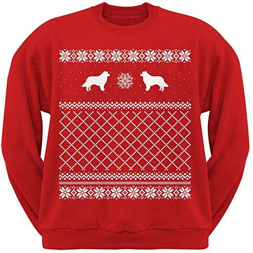 Border Collie Red Adult Ugly Christmas Sweater Crew Neck Sweatshirt - Large