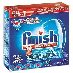 RECKITT BENCKISER PROFESSIONAL Powerball Dishwasher Tabs, Fresh Scent, 60/Box (81158BX)
