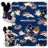 NFL Denver Broncos Mickey Mouse Pillow with Fleece Throw Blanket Set