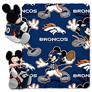 NFL Denver Broncos Mickey Mouse Pillow with Fleece Throw Blanket Set by Northwest