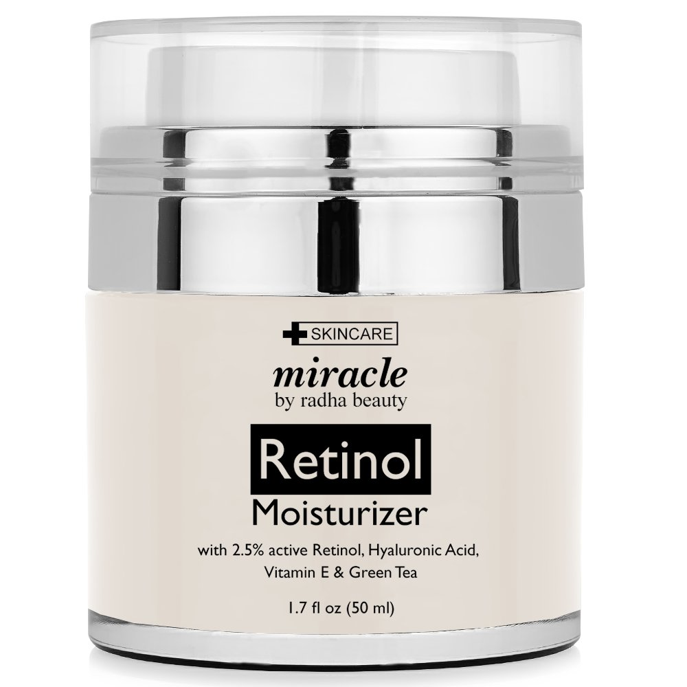 Retinol Moisturizer Cream for Face - with 2.5% retinol, hyaluronic acid and jojoba oil. Best night and day moisturizing cream 1.7 fl. oz