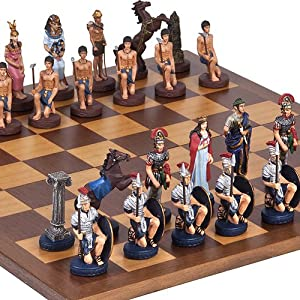 Hand Painted Romans & Egyptian Chessmen & Houston Street Chess Board