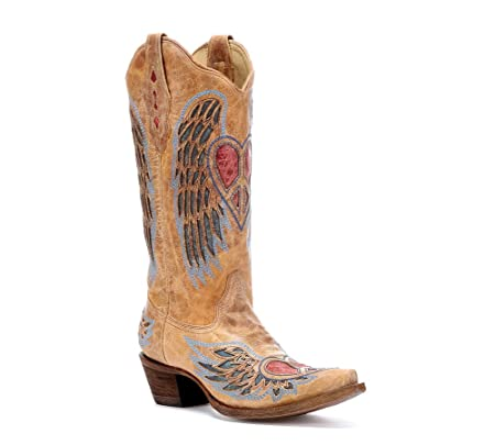 Corral Womens Distressed Peace Heart Inlay Cowgirl Boot Snip Toe