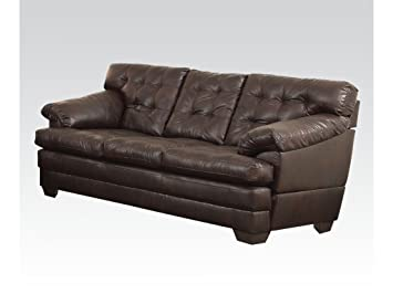 Brown Bonded Leather Match Sofa Couch by Acme Furniture